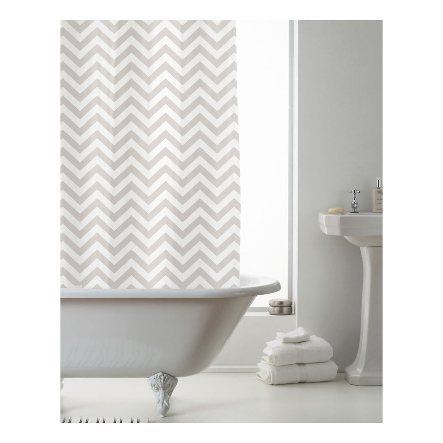 Peva Zig Zag Natural Shower Curtain