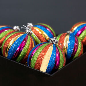 Multi Colour Luxury Bauble Set - 6 Pack