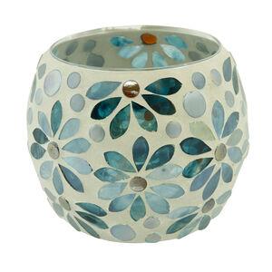 Blue Flower Round Candle Holder