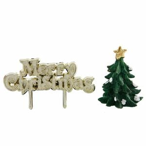 Christmas Tree & Merry Christmas Cake Toppers