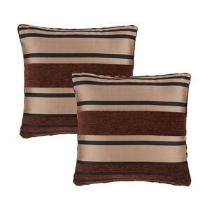 Chenille Stripe Chocolate Cushion Covers 2Pk