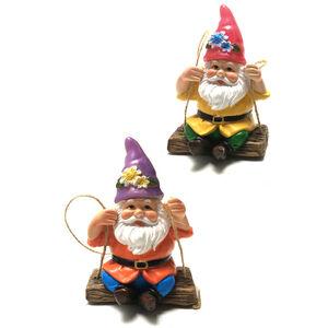 Solar Garden Gnome On A Swing