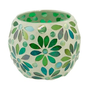 Green Flower Round Candle Holder