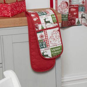 Retro Santa Double Oven Glove
