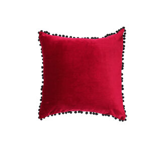 Pom Pom Cushion 45x45cm - Burgundy