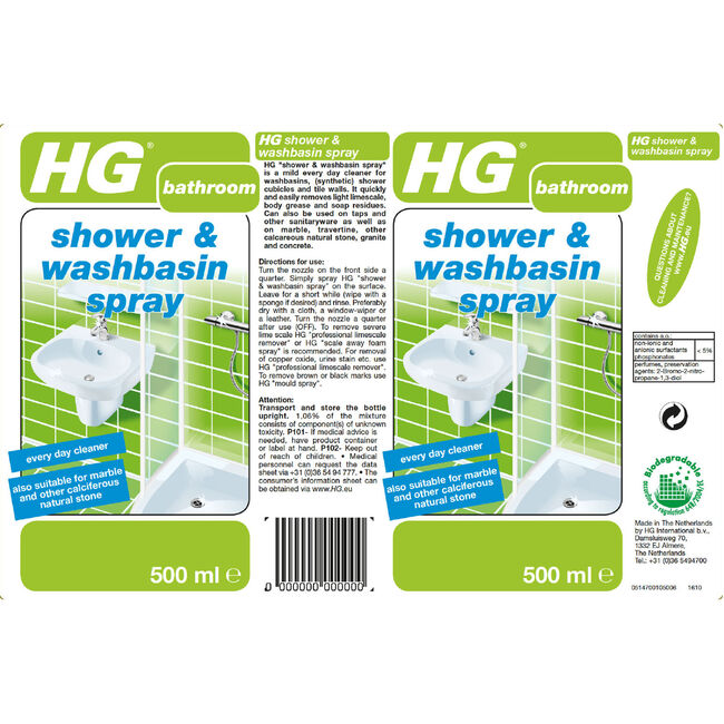 HG Shower and Washbasin Spray 500ml