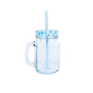 Glassworks Mason Jar with Straw 450ml
