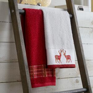 Reindeer Plaid Guest Towel - 2 Pack