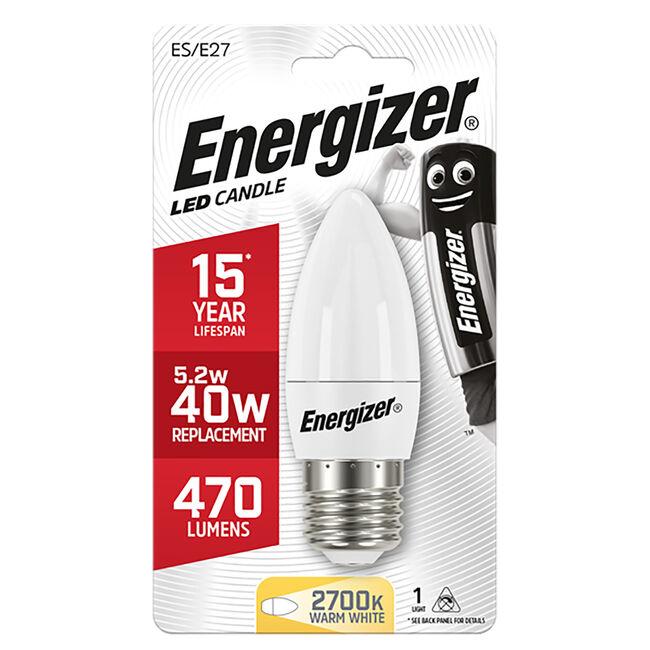 Energizer E27 LED Candle Bulb Opal 59W (EQ40W)