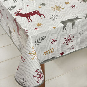 Herringbone Stag PVC Table Cloth 160x230cm