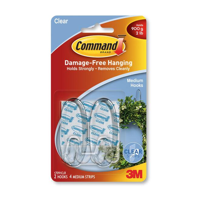 Command 2Pk Clear Medium Plastic Hooks