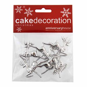 Silver Reindeer Cake Picks