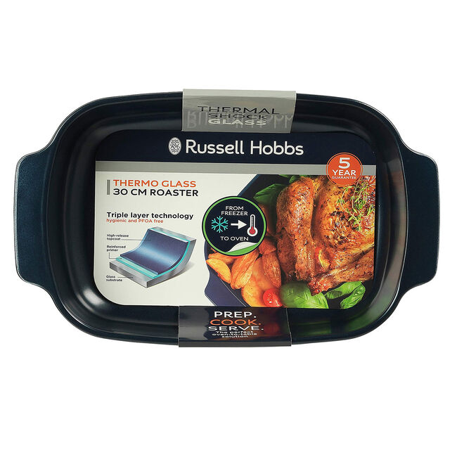 Russell Hobbs Navy 30cm Glass Roaster