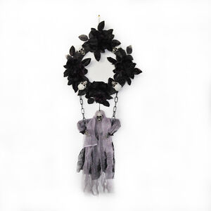 Black Rose Wreath With Hanging Ghost