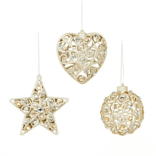 Jewelled Shapes Tree Ornament Gold 9cm