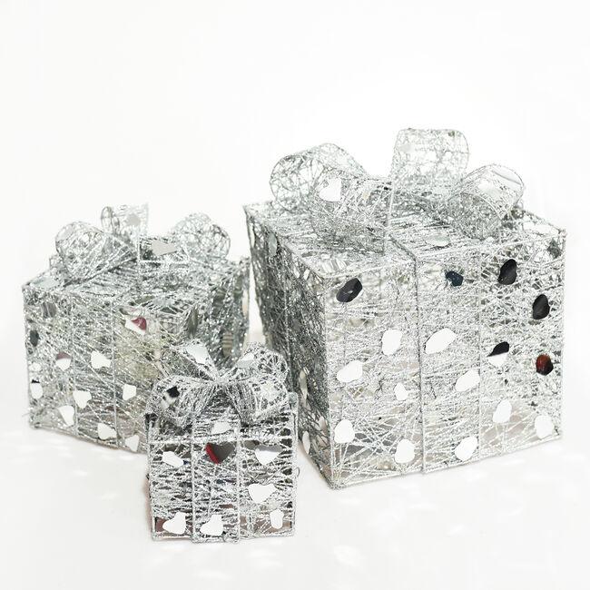 Light Up Silver Parcels - Set of 3