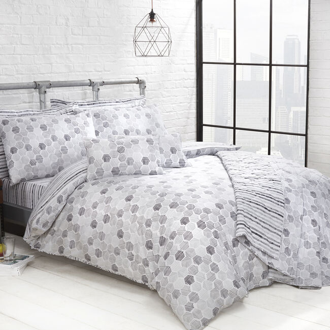 SINGLE DUVET COVER Aidan Grey 300tc