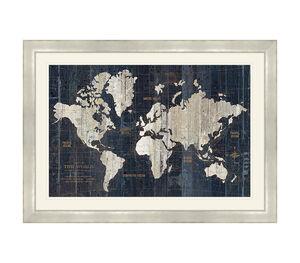 Old World Map Framed 69x49cm