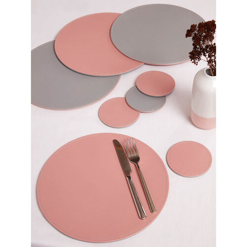 Reversible Round Placemats 4 Pack - Grey & Blush