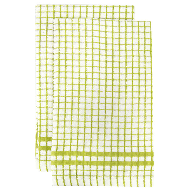 Mono Check Olive Tea Towels 2 Pack