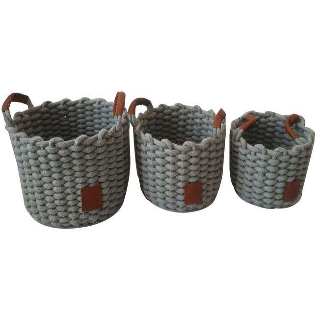Weft Round Grey Baskets Set of Three