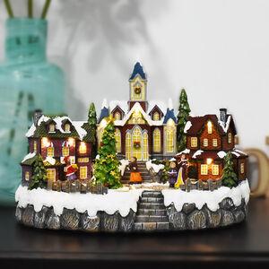 Musical Christmas Village Church Scene