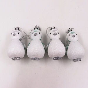 Frosted Silver Penguin Tree Decoration - 4 Pack