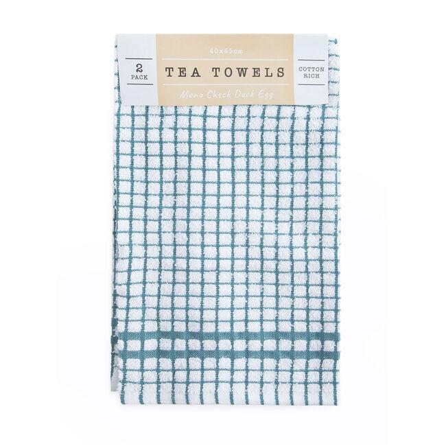 Mono Check Tea Towels 2 Pack - Duck Egg