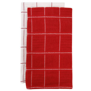 Check Kitchen Tea Towel 2 Pack Red