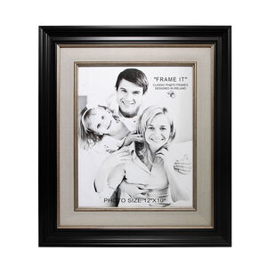 Black & Linen Slim Photo Frame 10x12""