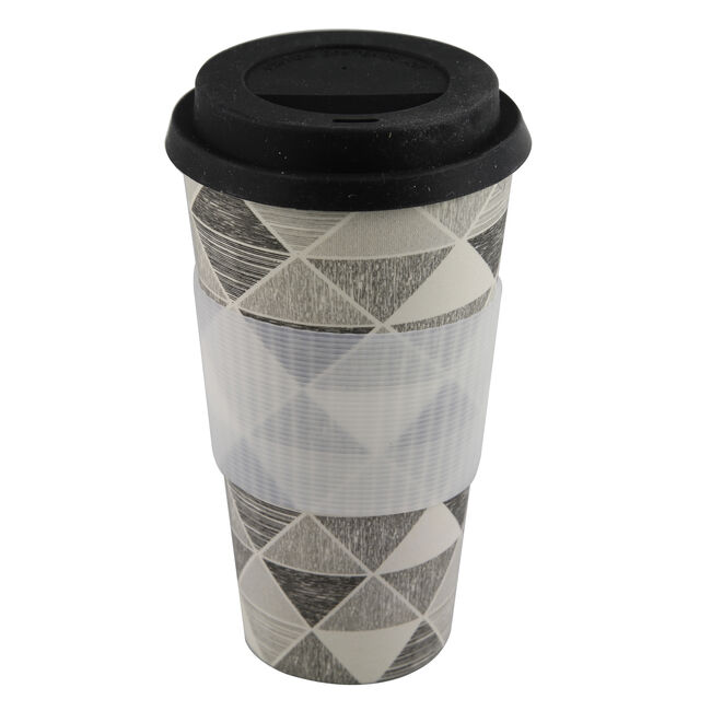 Black and White Triangle Sketch Sippy Mug