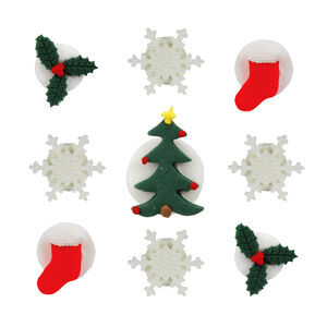 Christmas Icing Cake Toppers Assorted