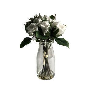 White Rose Bouquet In Jar