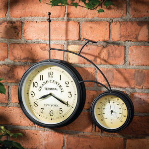 Penny Farthing Wall Clock & Thermometer