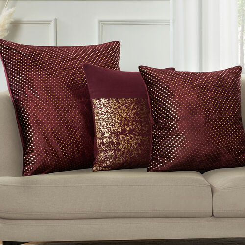 FOIL PRINT COTTON PLUM 45x45 Cushion