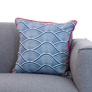 Waves Cushion 58x58cm - Navy/Red