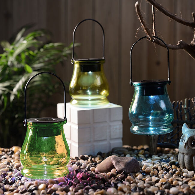Coloured Glass Jar Solar Light