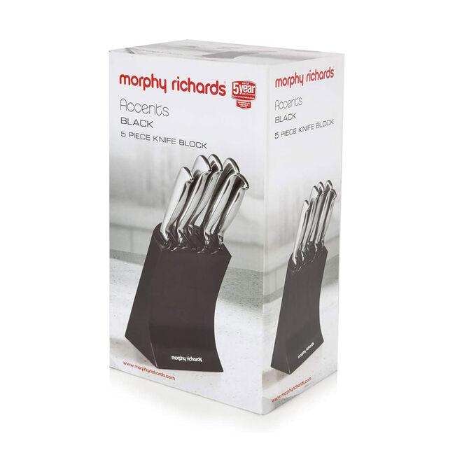 Morphy Richards Black 5 Piece Knife Block Set