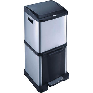 Stacked Stainless Steel Double Recycle Bin 34L