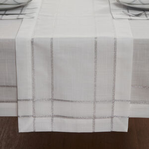 Twinkle Table Runner 229x40cm - White/Silver