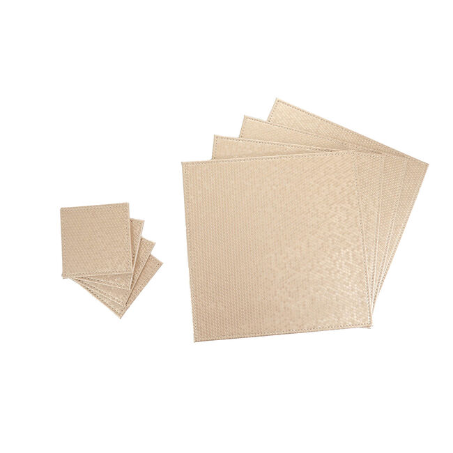 Honeycomb Square Coasters 4 Pack - Gold