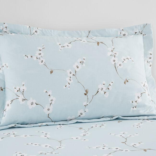 Blossom Oxford Pillowcase Pair - Duck Egg