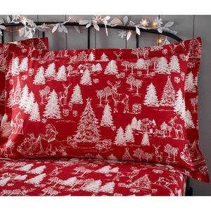 Christmas Toile Oxford Pillowcase Pair - Red