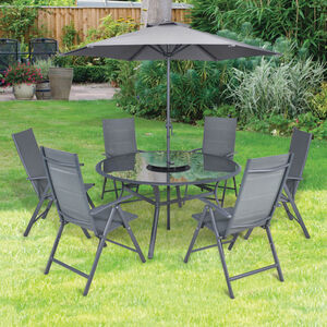 Reggina Round 7 Piece Garden Set - Grey