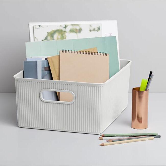 Stripe Storage Basket 5L - White