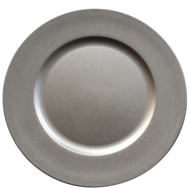 Round Glitter Charger Plate - Silver