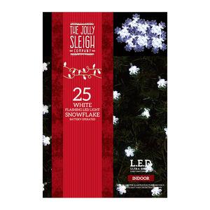 25 Snowflake Flashing LED Lights White