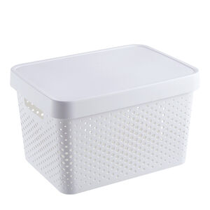 Infinity White Basket With Lid 17L