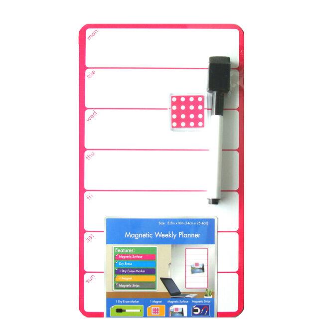 Magnetic Whiteboard Weekdays Pink 14cm x 25cm