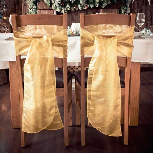 Gold Christmas Chair Bow - Pack Of 2